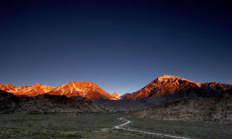 Entering Bishop California at Sunset